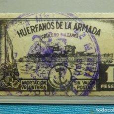 Sellos: SELLO - ESPAÑA - BENEFICENCIA - HUERFANOS DE LA ARMADA - 1 PTA . PESETA -. Lote 210815049