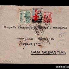 Sellos: C3-14 HISTORIA POSTAL GUERRA CIVIL CARTA CIRCULADA DE CADIZ A SAN SEBASTIAN EL 31-DIC-1937 (FIN DE . Lote 87625712