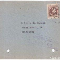 Sellos: TARJETA DE BURGOS A SALAMANCA. CENSURA MILITAR 1939. TARIFA DE IMPRESOS.. Lote 89165356