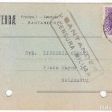 Sellos: TARJETA DE SANTANDER. CANTABRIA A SALAMANCA. CENSURA MILITAR. 1939. ISABEL LA CATÓLICA.. Lote 89165836