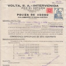 Sellos: 1938 VALENCIA SELLO TIMBRE ESTADO RECARGO TRANSITORIO GUERRA 60 CTS POLIZA ABONO VOLTA INTERVENIDA. Lote 89288100