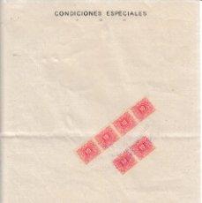 Sellos: 1938 VALENCIA SELLO TIMBRE ESTADO RECARGO TRANSITORIO GUERRA 10 CTS POLIZA ABONO VOLTA INTERVENIDA. Lote 89288480