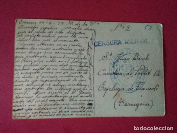 TARJETA POSTAL DE ELIZONDO. CRTA FRANCIA. CON CUÑO DEL 1ER REGIMIENTO DE FORTIFICACIÓN Y CENSURA. (Sellos - España - Guerra Civil - De 1.936 a 1.939 - Cartas)
