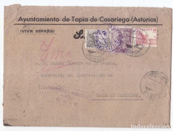 SOBRE CONSERVA LA CARTA DE CANGAS DE ONÍS A TAPIA. ASTURIAS. CENSURA MILITAR DE ONÍS. (Sellos - España - Guerra Civil - De 1.936 a 1.939 - Cartas)