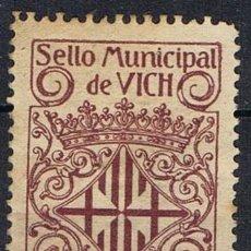 Sellos: 0338. SELLO MUNICIPAL VICH (BARCELONA) 1 PTA, LOCAL IMPUESTO, FISCAL *. Lote 90458309