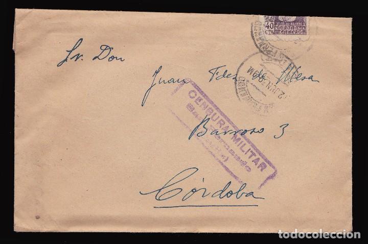*** CARTA 1939 SAN FERNANDO-CÓRDOBA, CUARTEL SAN CARLOS, OFICIAL INFANTERÍA, CENSURA *** (Sellos - España - Guerra Civil - De 1.936 a 1.939 - Cartas)