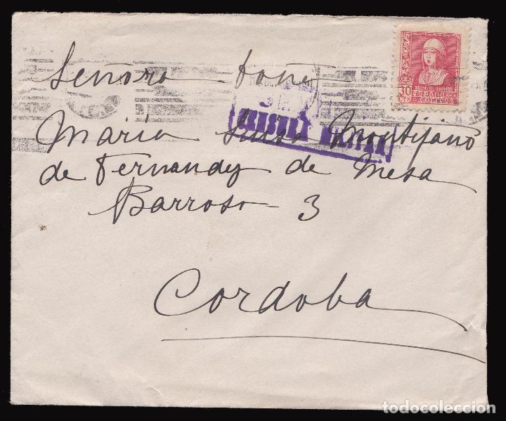 *** CARTA 1938 SEVILLA-CÓRDOBA CENSURA SEVILLA + LOCAL PRO-SEVILLA Y EDIFIL 857 *** (Sellos - España - Guerra Civil - De 1.936 a 1.939 - Cartas)