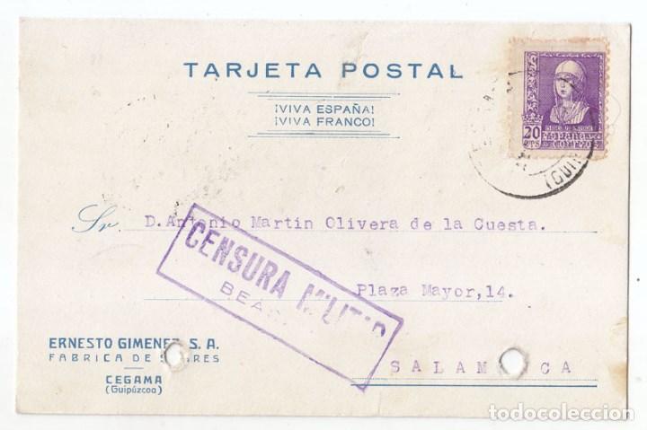 TARJETA DE CEGAMA. GUIPÚZCOA. A SALAMANCA. CENSURA MILITAR BEASÁIN. PAÍS VASCO. 1939 (Sellos - España - Guerra Civil - De 1.936 a 1.939 - Cartas)