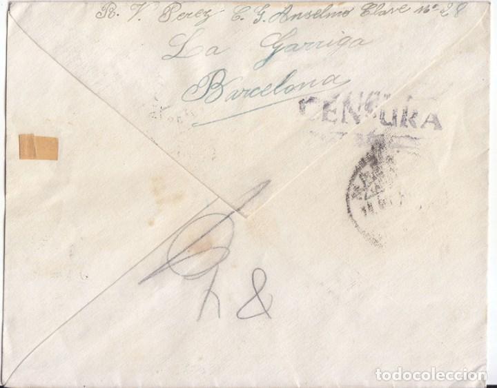 Sellos: SOBRE DE LA GARRIGA A BARCELONA. 1938. DORSO CENSURA MILITAR REPUBLICANA. CATALUÑA. - Foto 2 - 91234500