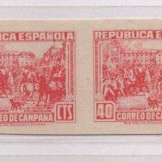 Sellos: REPUBLICA ESPAÑOLA, 40 CTS,PAREJA SIN DENTAR.CALCADO REVERSO, NE, NUEVOS, VER FOPTOS. Lote 91537110