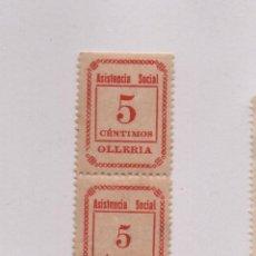 Sellos: OLLERIA, 5 CTS, PAREJA CON LOS TIPO 5 GRANDE Y 5 CTS, TIPO PEQUEÑO,N-C, VER SOFIMA 1, NUEVO CON GOMA. Lote 91537720
