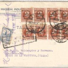 Sellos: GUERRA CIVIL CC SEVILLA A JEREZ DE LA FRONTERA CADIZ CON SELLOS 2 CENTIMOS SOBRECARGA PATRIOTICA VI. Lote 91981205