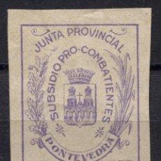 Sellos: PONTEVEDRA, SUBSIDIO PRO-COMBATIENTES, 1P VIOLETA ALLEPUZ 16, *. Lote 92418850