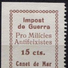 Sellos: CANET DE MAR, 15C, IMPOST DE GUERRA, PRO MILÍCIES ANTIFEIXISTES, 15C CASTAÑO, ALLEPUZ 4, *. Lote 92868245