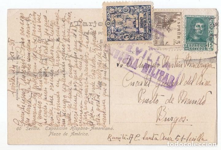 POSTAL DE SEVILLA AL CUARTEL GENERAL DEL AIRE EN BURGOS. SELLO LOCAL Y CENSURA MILITAR 1938 (Sellos - España - Guerra Civil - De 1.936 a 1.939 - Cartas)