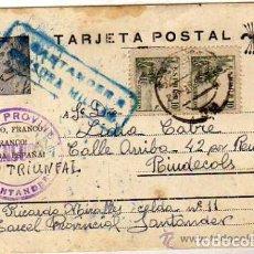 Sellos: PRISION PROVINCIAL SANTANDER. CENSURA MILITAR. FRANCO. GUERRA CIVIL. 33-3-39. Lote 93850950