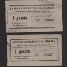 Sellos: UBEDA, 1 PTA, ARBITRIOS SOBRE CARNE.... DOS TIPOS DISTINTOS,,VER FOTO. Lote 93915560