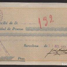 Sellos: BARCELONA, U.G.T. RECIBO, AÑO 1937. Lote 93915710