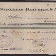 Sellos: BARCELONA, U.G.T. RECIBO, AÑO 1937. Lote 93915840