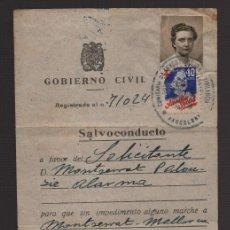 Sellos: BARCELONA, SALVOCONDUCTO,CON VIÑETAS. AÑO 1939. Lote 93915985
