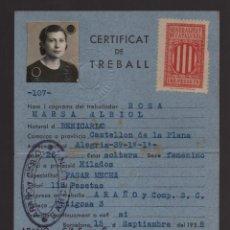 Sellos: BARCELONA, CERTIFICADO DE TRABAJO. AÑO 1938. Lote 93916210