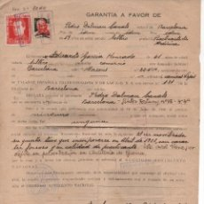 Sellos: BARCELONA, DOCUMENTO DE GARANTIA, VARIAS VIÑETAS,. AÑO 1939. Lote 93916365