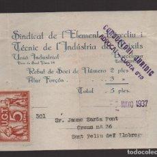 Sellos: SAN FELIU DE LLOBREGAT, U.G.T. CUOTA, AÑO 1937, VER FOTO. Lote 93917460