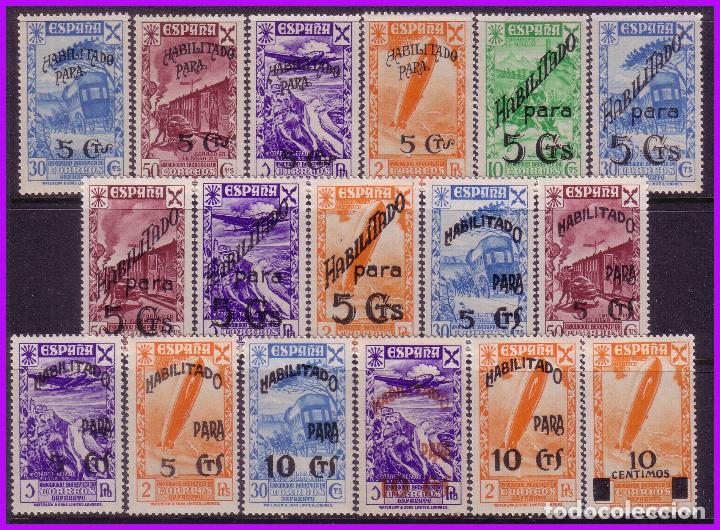 1940 HISTORIA DEL CORREO HABILITADOS, EDIFIL Nº 36 A 52 * * SERIE COMPLETA (Sellos - España - Guerra Civil - Beneficencia)