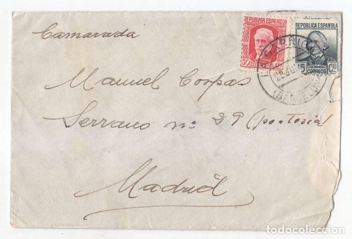 CARTA DE LA GARRIGA. BARCELONA A MADRID. 1937. DIRIGIDA A UN CAMARADA. (Sellos - España - Guerra Civil - De 1.936 a 1.939 - Cartas)
