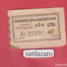 Sellos: SUBSIDIO PRO COMBATIENTES JUNTA PROVINCIAL 0,10 CTS Nº 29192 SERIE F, FECHA: 1 -10 -1939 PBG62. Lote 94775771