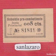 Sellos: SUBSIDIO PRO COMBATIENTES JUNTA PROVINCIAL 0,05 CTS. Nº 81818 SERIE F, FECHA: 1 -11 -1939 PBG67. Lote 94777099