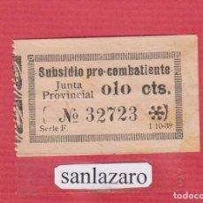 Sellos: SUBSIDIO PRO COMBATIENTES JUNTA PROVINCIAL 0,10 CTS. Nº 32723 SERIE F, FECHA: 1 - 10 -1939 PBG69. Lote 94777367