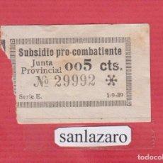 Sellos: SUBSIDIO PRO COMBATIENTES JUNTA PROVINCIAL 0,05 CTS. Nº 29992 SERIE E, FECHA: 1 - 9 -1939 PBG70. Lote 94777719