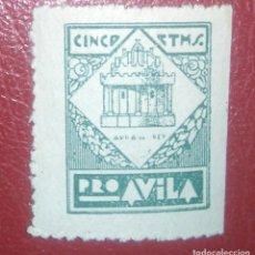 Sellos: ESPAÑA AVILA LOCAL 1937 GALVEZ 92 FESOFI 3 GUERRA CIVIL. Lote 95506323