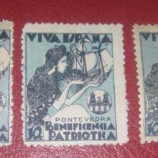 Sellos: ESPAÑA PONTEVEDRA LOCAL 1937 GALVEZ 613-614 + 614A FESOFI 1-3 GUERRA CIVIL. Lote 95506519