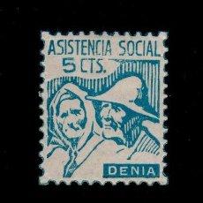 Sellos: CL4-9-82-3 GUERRA CIVIL - VIÑETA DE DENIA (ALICANTE) ASSISTENCIA SOCIAL 5C. FESOFI TIPO 35 DENT. . Lote 95509211