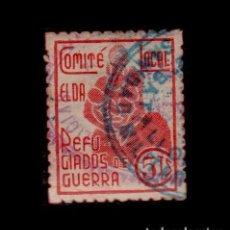 Sellos: CL4-10-83-4 GUERRA CIVIL VIÑETA DE ELDA (ALICANTE) REFUGIADOS DE GUERRA 5 CTS FESOFI Nº 1 MATASELLOS. Lote 95509935