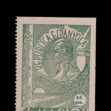 Sellos: CL4-10-85-5 GUERRA CIVIL VIÑETA DE EL MASNOU (BARCELONA) IMPOST DE GUERRA VALOR 25 CTS. VERDE FESOF. Lote 95511083