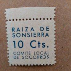 Sellos: RAIZA DE SONSIERRA. CÓMITE LOCALDE SOCORROS. 10 CTS.. Lote 95664375