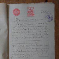 Sellos: W60-ESCRITURA DOCUMENTO COMPLETO SELLOS FISCALES CARAVACA MURCIA 10 PESETAS CLASE 5ª. 1910 Y OTROS S. Lote 95731947