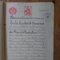 Sellos: W61-ESCRITURA DOCUMENTO COMPLETO SELLOS FISCALES CARAVACA MURCIA 10 PESETAS CLASE 5ª. 1910 Y OTROS S. Lote 95731975