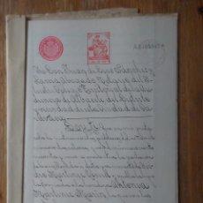 Sellos: W63-ESCRITURA DOCUMENTO COMPLETO SELLOS FISCALES CARAVACA MURCIA 10 PESETAS CLASE 5ª. 1910 Y OTROS S. Lote 95732564