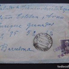 Sellos: SOBRE CIRCULADO / MASNOU 1938 / CENSURA MILITAR / CORREOS TEYÁ ( TEIÁ ) MUY RARO. Lote 95749891