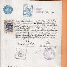 Sellos: 1937 COLEGIO NOTARIAL MADRID SELLO FISCAL LEGALIZACIONES 6 PTS HABILITADO REPUBLICA ESPAÑOLA ESCRITU. Lote 95861759