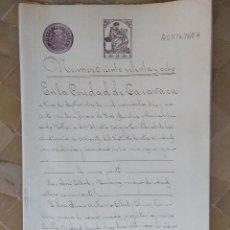 Sellos: W67-UNICO VENTA ESCRITURA DOCUMENTO COMPLETO SELLOS FISCALES 1910 CARAVACA MURCIA 7 PESETAS CLASE 6ª. Lote 95892539