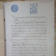 Sellos: W74-25 PESETAS CLASE 4ª. 1910.UNICO PARA VENTA ESCRITURA DOCUMENTO COMPLETO SELLOS FISCALES CARAVACA. Lote 95928463