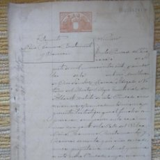Sellos: W75-ESCRITURA DOCUMENTO COMPLETO SELLOS FISCALES CARAVACA MURCIA 1 PTA CLASE 11ª. 1907 Y OTROS SELLO. Lote 95928723