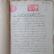 Sellos: W76-ESCRITURA DOCUMENTO COMPLETO SELLOS FISCALES CARAVACA MURCIA 1 PTA CLASE 11ª. 1903 Y OTROS SELLO. Lote 95929227