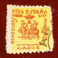 Sellos: SELLO CADIZ VIVA ESPAÑA GUERRA CIVIL 5 CTS. Lote 95936991