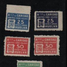 Sellos: HUELVA, 5 SELLOS, CARIDAD Y ARBRITIOS SOBRE VIAJEROS, VER FOTOS. Lote 95938323